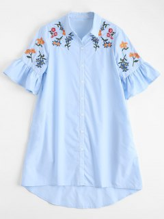 High Low Embroidered Ruffles Shirt Dress - Light Blue L