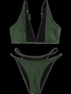 Ensemble De Bikini Inséré Maille à Bas Levé - Vert Foncé L