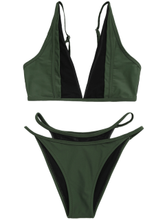 Mesh Panel High Cut Bikini Set - Blackish Green Xl