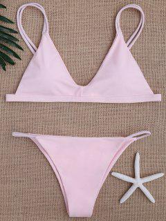 Bikinis Maillots De Bain Taille Basse à Bretelles Spaghetti - Rose  L