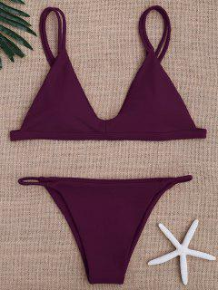 Bikinis Maillots De Bain Taille Basse à Bretelles Spaghetti - Violacé Rouge S