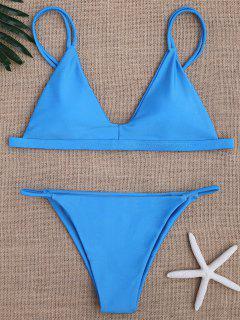 Low Waisted Spaghetti Straps Bikini Swimwear - Blue S