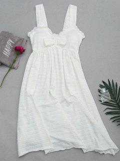 Ruffles Straps Bowknot Padded Sleep Dress - White L