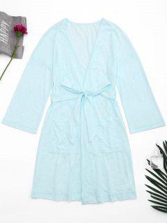 Kimono Belted Pockets Night Robe - Light Blue M