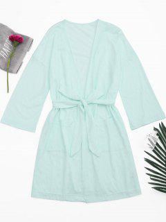 Kimono Belted Pockets Night Robe - Light Green Xl