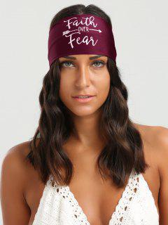 Lettres Embellished Elastic Sport Headband - Rouge Vineux