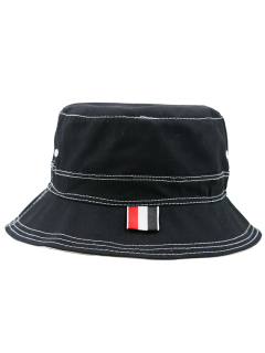 Linellae Embroidery Sunscreen Bucket Hat - Black