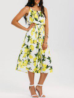 High Neck Lemon Midi Beach Dress - Multicolor L