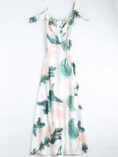 Leaves Print Cami Wrap Dress - White M