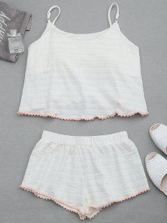 Loungewear Pom Padded Cami Top With Shorts - White Xl