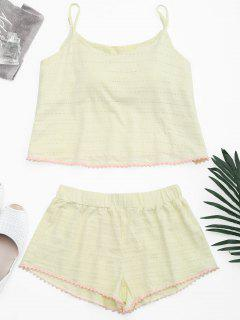 Loungewear Pom Padded Cami Top With Shorts - Light Yellow M