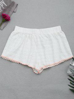 Hollow Out Loungewear Pom Shorts - Weiß S