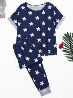 Loungewear Pentagram Star Print T-Shirt With Pants - Blue M