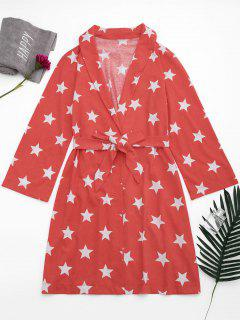 Wrap Pentagram Star Print Night Robe - Red S