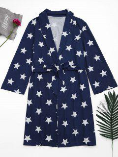 Wrap Pentagram Star Print Night Robe - Blue S