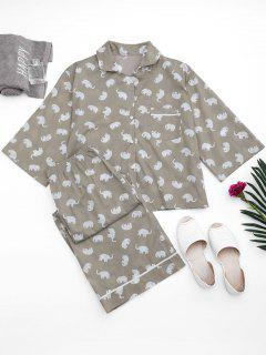 Loungewear Elephant Print Shirt With Pants - Gray M