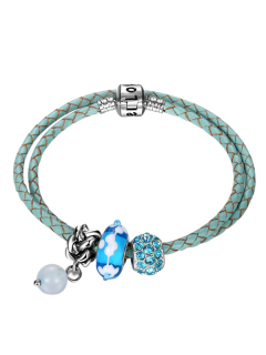 Rhinestone Beaded Engraved Love Charm Bracelet - Blue