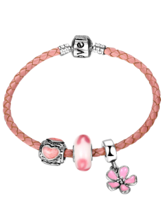 Engraved Heart Love Flower Charm Bracelet - Pink
