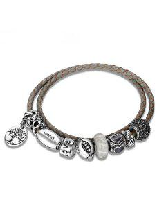 Engraved Love Tree Of Life Charm Bracelet - Gray