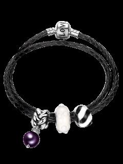 PU Leather Engraved Love Charm Bracelet - Black
