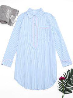 Arc Hem Striped Loungewear Shirt Dress - Stripe S