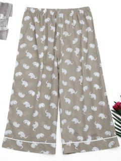 Loungewear Elephant Print Pants - Gray S