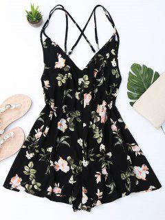 Back Crossed Printed Romper - Black M