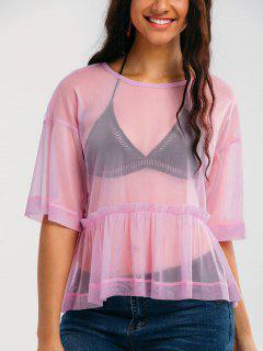 Mesh See Through Ruffles Top - Pinkish Purple S