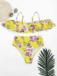 Ruffles Floral Off Shoulder High Waisted Bikini - Yellow S