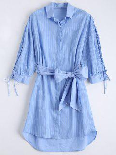 Lace Up Sleeve Dip Hem Striped Shirt Dress - Blue L