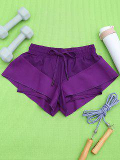 Double Layer Running Shorts - Purple M