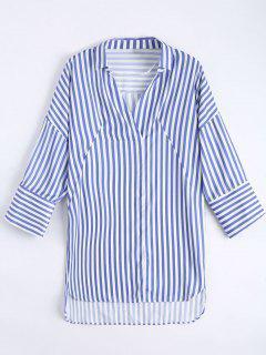Hoch Niedriges Longline Gestreiftes Hemd - Blau L
