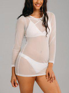 Mesh Long Sleeve See Through Cover Up Dress - White 2xl