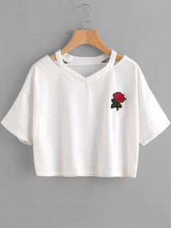 Floral Embroidered Cold Shoulder Top - White Xl
