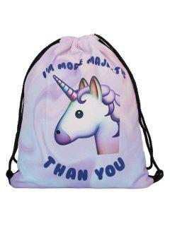 Unicorn Print Drawstring Backpack - Purple