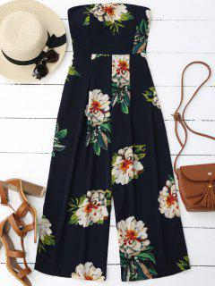 Floral Print Padded Bandeau Cropped Jumpsuit - Purplish Blue L