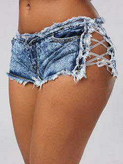 Lace Up Frayed Denim Shorts - Denim Blue S