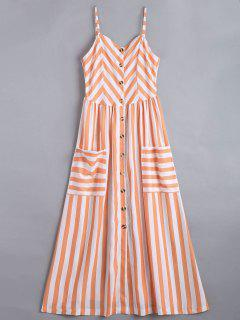 Button Up Striped Cami Dress - Stripe Xl
