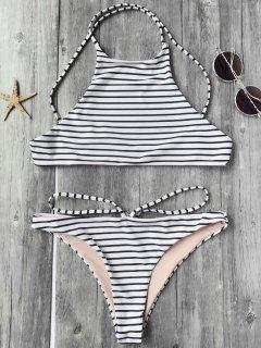 Striped High Neck Bikini Top And Bottoms - White And Black L