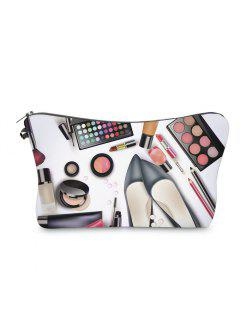 3D Cosmetics Print Clutch Makeup Bag - Black