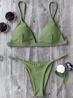Spaghetti Straps Plunge Thong Bikini Set - Green L