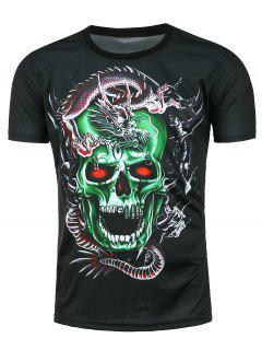 3D Dragon Skull Printed Short Sleeve T-shirt - Black Xl
