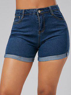 Enge Mini Denim Shorts Mit Hoher Taille Und Saumaufschlag - Blau 2xl