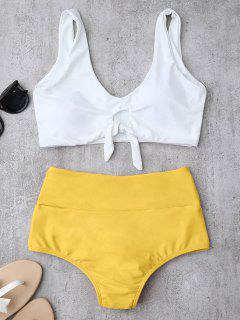 Knotted High Waisted Ruched Bikini Set - Yellow Xl