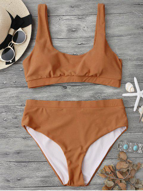 affordable Midi Bralette Scoop Bikini Set - BROWN S Mobile