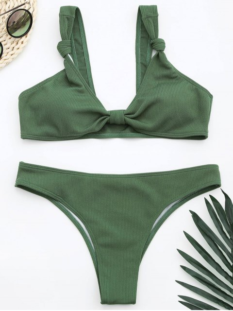 women Ribbed Knotted Bowknot Bathing Suit - LIGHT GREEN S Mobile