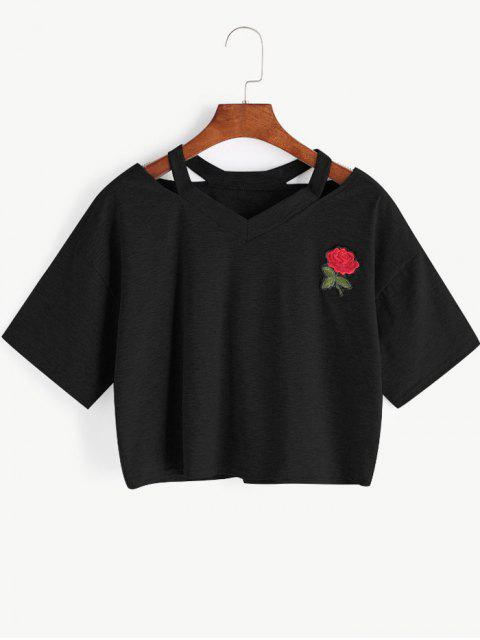 unique Floral Embroidered Cold Shoulder Top - BLACK S Mobile