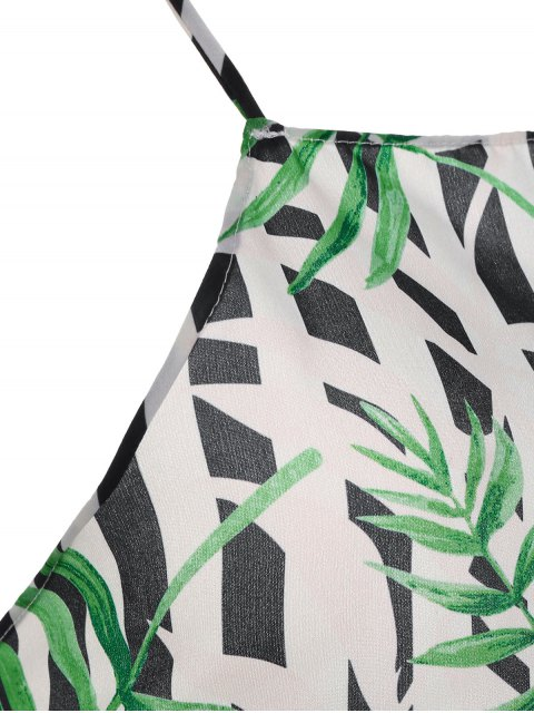 online Bow Tie Bamboo Leaves Backless Tank Top - MULTICOLOR M Mobile