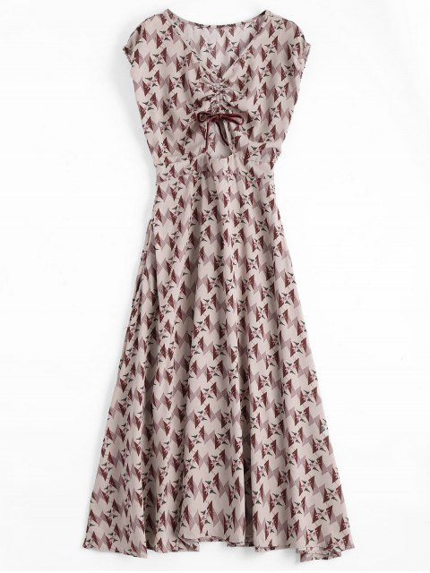 latest Floral Geometric Bowknot Midi Dress - FLORAL S Mobile