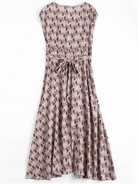 latest Floral Geometric Bowknot Midi Dress - FLORAL S Mobile